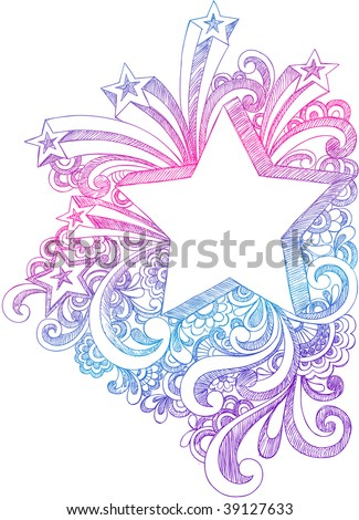 Hand-Drawn Sketchy Notebook Doodle Starburst and 3-Dimensional Shooting Stars Vector Illustration - stock vector