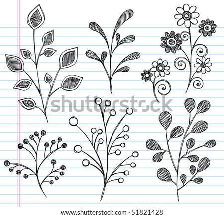 Hand-Drawn Sketchy Notebook Doodles of Leaves, Plants, and Flowers- Vector Illustration on Lined Sketchbook Paper Background