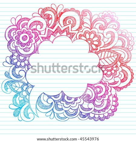 Hand-Drawn Sketchy Notebook Doodles Paisley Comic Speech Bubble Design Elements on Lined Paper Background- Vector Illustration - stock vector
