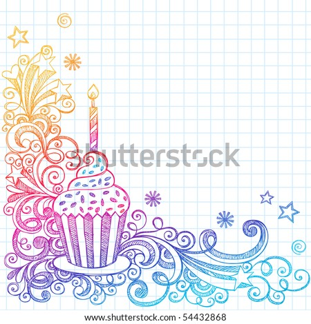Hand-Drawn Sketchy Ornate Cupcake Doodle Page Border- Notebook Doodles on Grid (Graph) Paper Background- Vector Illustration - stock vector