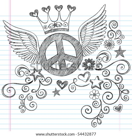 Hand-Drawn Sketchy Peace Sign Doodle with Angel Wings and Princess Crown on Lined Notebook Paper Background- Vector Illustration - stock vector