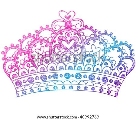 Hand-Drawn Sketchy Royalty Princess Crown Notebook Doodles Vector Illustration - stock vector