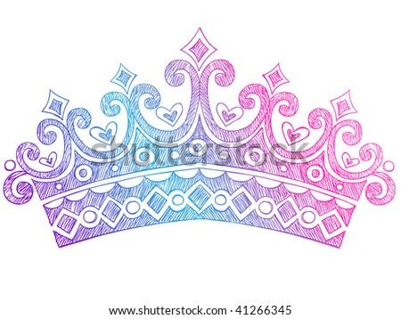 Hand-Drawn Sketchy Royalty Princess Queen Crown Notebook Doodles Vector Illustration - stock vector