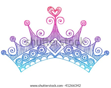 Hand-Drawn Sketchy Royalty Princess Tiara Crown Notebook Doodles Vector Illustration - stock vector