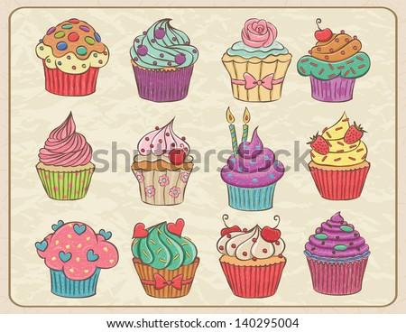 Hand drawn sketchy set of cupcakes on a wrinkled paper. - stock vector