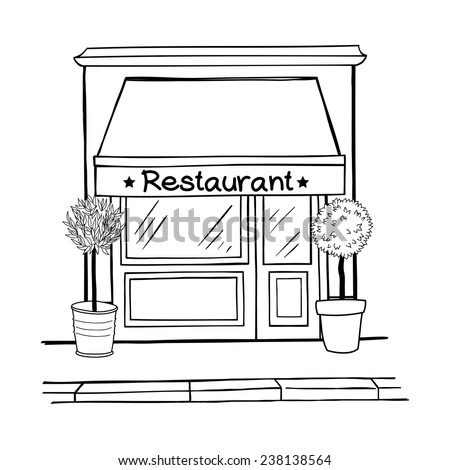 how to draw the outside of a restaurant