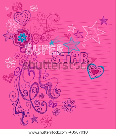 Hand-Drawn Sketchy Super Star Doodles Vector Illustration with Stars, Hearts, and Swirls on Lined Notebook Paper Background - stock vector