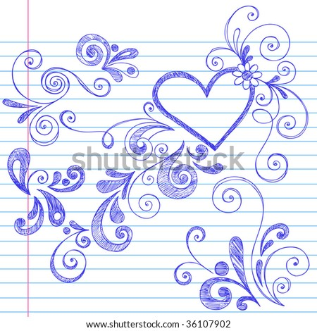 Hand-Drawn Sketchy Swirls and Curls Doodles on Lined Notebook Paper
