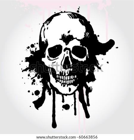 Hand Drawn Skull on Grunge Background - stock vector