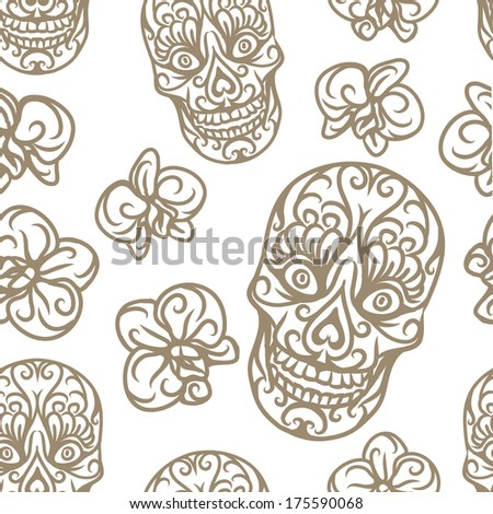 Hand-drawn skull seamless pattern - vector illustration.