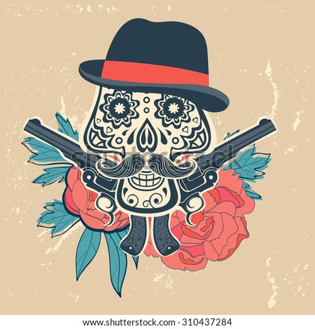 Hand drawn skull with guns and flowers in vintage style. Vector illustration - stock vector