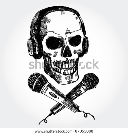 Hand Drawn Skull with Microphones - stock vector