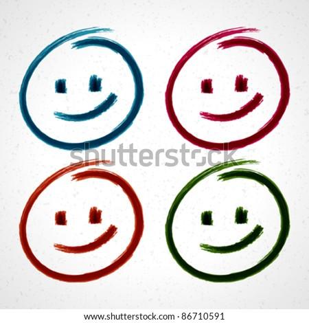 Hand drawn smile face. Vector design elements set eps 10. - stock vector