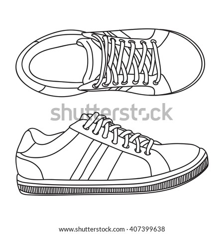 Hand drawn sneakers, gym shoes. Doodle vector illustration. - stock vector