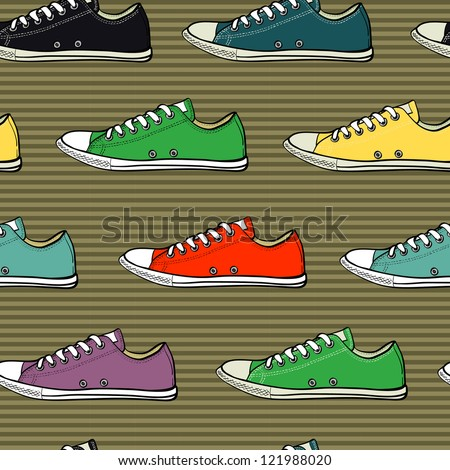 Hand drawn sneakers seamless pattern on the striped background. Vector illustration.