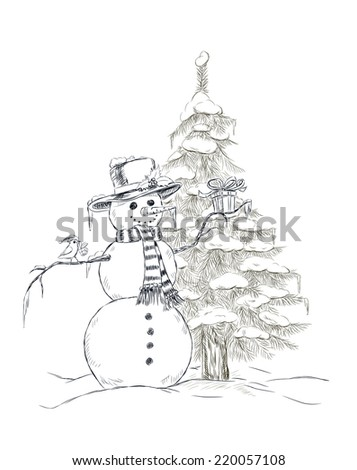 Hand- drawn snowman with hat and scarf holding Christmas gift and cute little bird with Christmas hat perching on snowman arm and gift on its beak. On the background fir tree covered with snow.  - stock vector