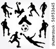Hand Drawn Soccer Players Silhouette - stock photo