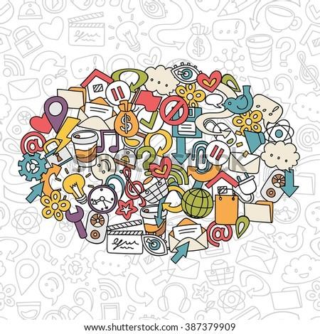 Hand Drawn Social Network Symbols Vector Stock Vector 387379909