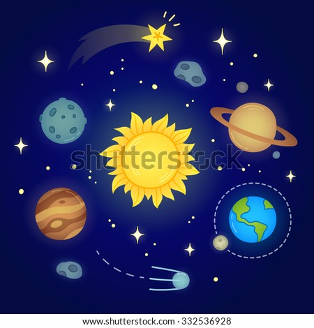 Hand drawn solar system doodle with glowing sun, planets, asteroids and other outer space objects. Cute and bright illustration. - stock vector