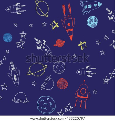 Hand drawn space doodle background