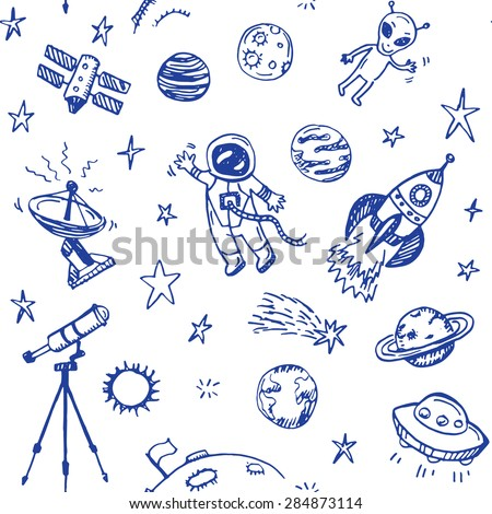 Hand drawn space doodle seamless background.