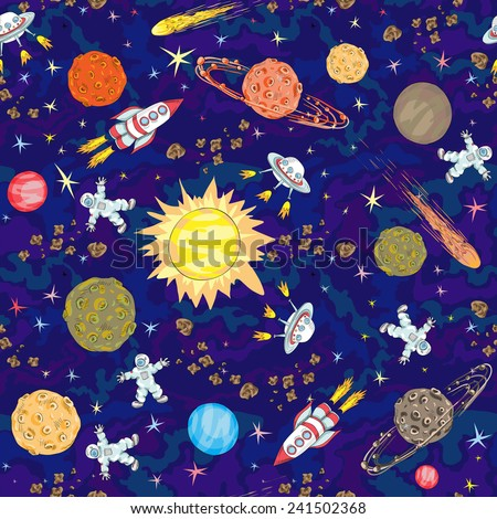 hand drawn space seamless pattern. kids background - stock vector