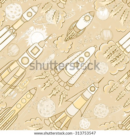 hand drawn space seamless pattern. kids vector background