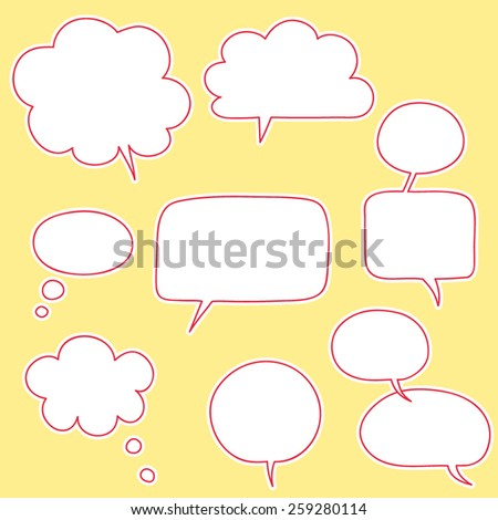 hand drawn speaking bubbles set, outlines, thought bubbles