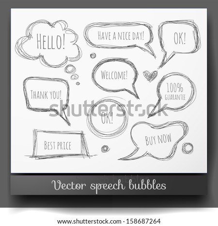 Hand-drawn speech and thought bubbles isolated on white. Vector sketch illustration. - stock vector