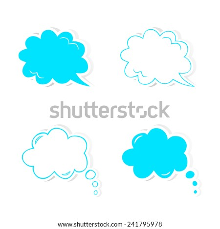 Hand drawn speech and thought bubbles set. Design elements for Valentine's day, wedding or baby shower invitation, scrapbooking etc. Vector illustration - stock vector