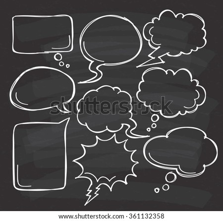 Hand drawn speech bubble doodle on black board - stock vector