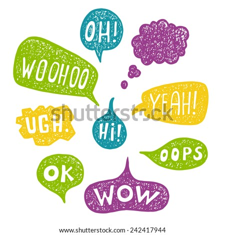 Hand drawn Speech Bubble Emotions Set.  - stock vector