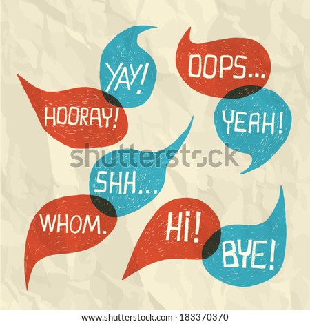 Hand drawn speech bubble set with short phrases (oh, hi, yeah, yay, bye, hooray, whom, oops, shh) on paper texture background - vector illustration - stock vector