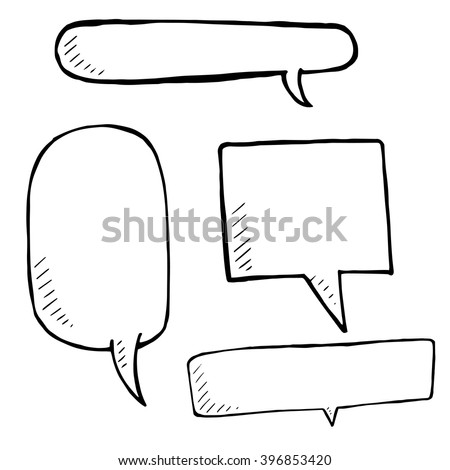 Hand drawn speech bubble skech set on white background. Vector doodle Illustration - stock vector