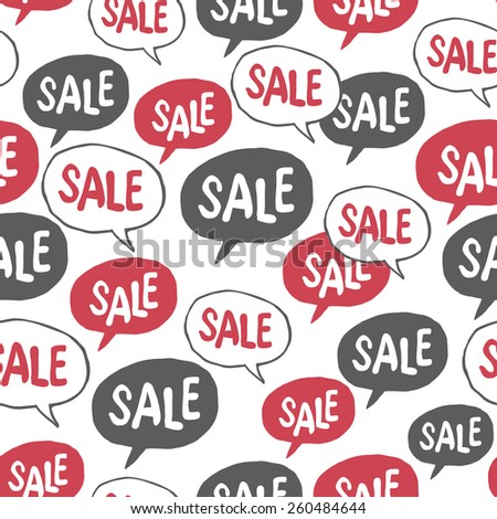 "Hand Drawn Speech Bubble with ""Sale"" Word. Seamless Pattern - stock vector"