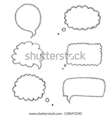 Hand-drawn speech bubbles - stock vector
