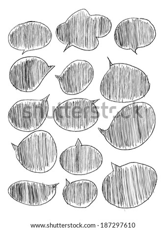 Hand drawn, speech bubbles - stock vector