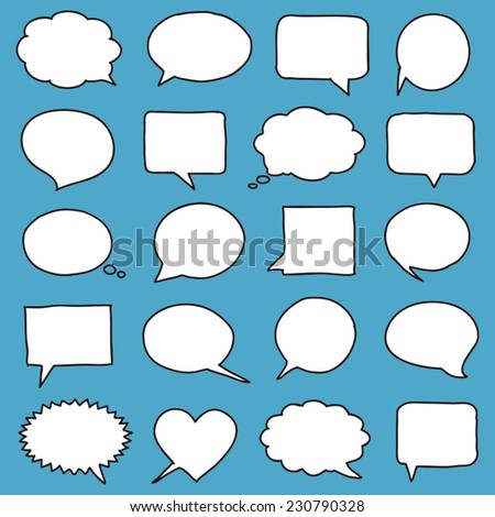 Hand-drawn speech bubbles - stock vector