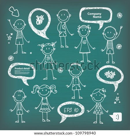 Hand-drawn speech bubbles and children,Back To School illustration - stock vector