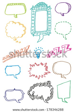 Hand drawn Speech Bubbles and Comic Emotion Balloons Doodle Vector. Editable Clip Art.