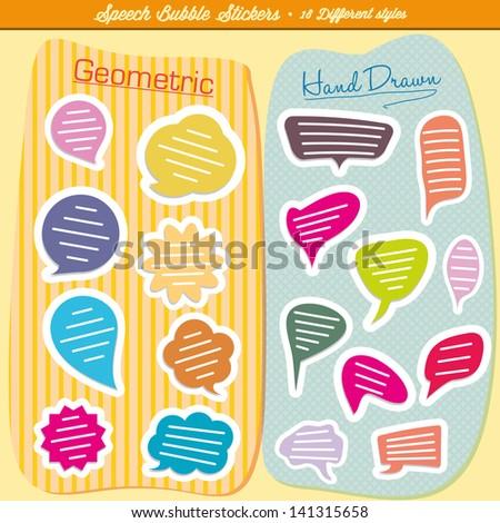 Hand-drawn speech bubbles illustration - stock vector