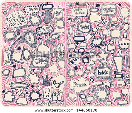 Hand-drawn speech bubbles illustration. - stock vector