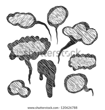Hand-drawn speech bubbles isolated on white - stock vector