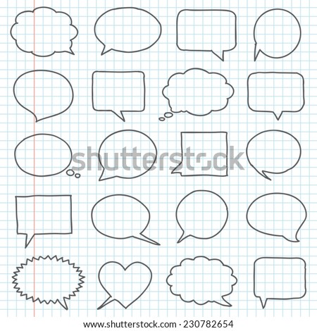 Hand drawn speech bubbles on a notebook sheet - stock vector