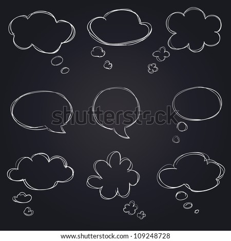 hand drawn speech bubbles on blackboard - stock vector