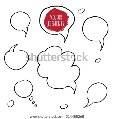 Hand drawn speech bubbles. Vector Collection of Hand Drawn Doodle Style Speech Bubbles. - stock vector