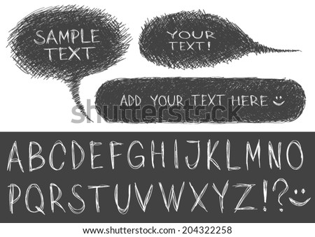 Hand-drawn speech bubbles with alphabet.  - stock vector