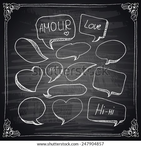 Hand drawn speech bubbles with hearts, chalkboard effect. Vector illustration.