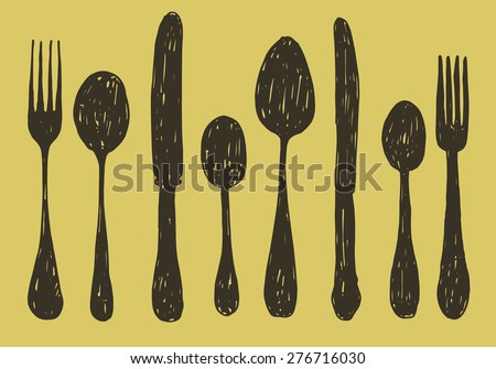 hand drawn spoon, fork and knife collection. vector illustration - stock vector
