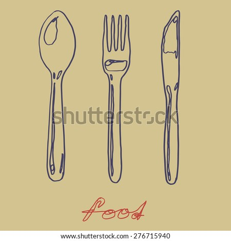 hand drawn spoon, fork and knife vector illustration - stock vector